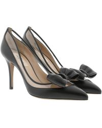 Valentino - Pointed Court Shoes Leather Black - Lyst