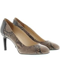 HUGO - Adeline Leather Pump Open Beige Snake - Lyst