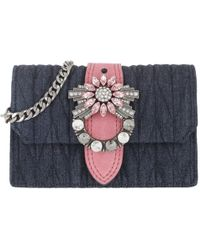 Miu Miu - Embellished Denim Shoulder Bag Blu/rosa - Lyst