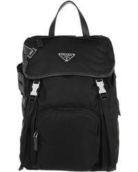 f8b543441a2 Prada Tessuto Zainetto Backpack Baltic Blue Black in Black - Lyst
