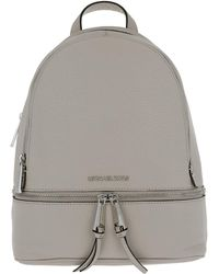 e19e4fd6eb76 Michael Kors Michael By Rhea Zip Pearl Grey Leather Backpack in Gray ...