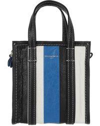 3099ca41adc4 Balenciaga - Bazar Mini Shopper Arena Leather Blue black - Lyst