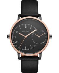 Skagen - Ladies Hagen Dual Timer Leather Watch Black/black - Lyst