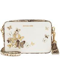2df467b53eba04 Michael Kors Cori Optic White Pebble Leather Small Trunk Bag W/studs ...