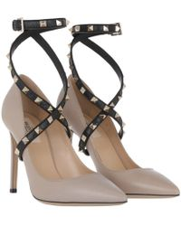Valentino - Studwrap Pumps Leather Poudre/nero - Lyst