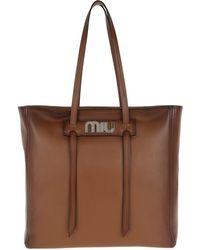 e9dcc47354ff Miu Miu - Grace Lux Soft Leather Shopping Bag Cognac - Lyst