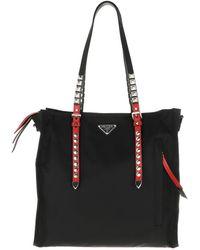 Prada W Borsa A Mano Saffiano + City Calf Handbag W Lock Nero Tote