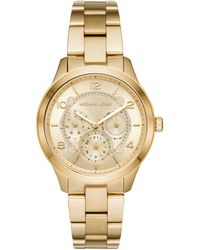 Michael Kors - Women's Runway Chronograph Gold-tone Stainless Steel Watch - Lyst