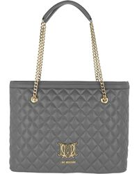 Love Moschino - Quilted Logo Shopping Bag Grigio - Lyst