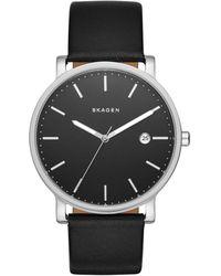 Skagen - Hagen Leather Men's Watch - Lyst