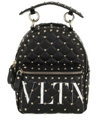 Valentino - Valentino Rockstud Spike Small Backpack In Quilted Nappa Leather With All Over Studs And Vltn Print - Lyst