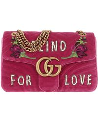 fa47ccc571da45 Gucci - GG Marmont Velvet Embroidered Shoulder Bag Raspberry Pink - Lyst