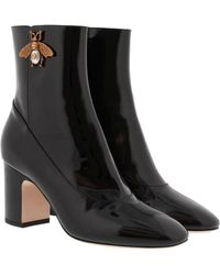 Gucci - Patent Leather Ankle Boot With Bee Black - Lyst