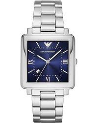 Emporio Armani - Ar11072 Mens Angular Metal Watch Silver - Lyst