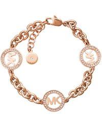 Michael Kors - Chain Link Bracelet Logo Rosé Gold-tone - Lyst