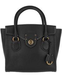 Lauren by Ralph Lauren - Pebbled Leather Satchel Medium Black - Lyst
