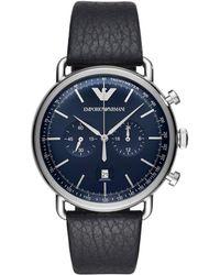 Emporio Armani - Mens Dress Watch Silver/blue - Lyst