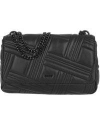 DKNY - Allen Lg Flap Shoulder Bag Black/gold - Lyst