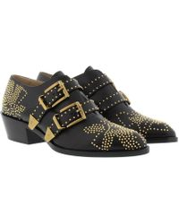 Chloé | Susanna Booties Low Nappa Black & Gold | Lyst
