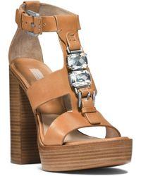 Michael Kors Jaden Embellished Vachetta Leather Sandal - Lyst