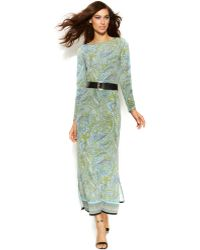 Michael Kors Michael Long-Sleeve Belted Paisley Maxi Dress - Lyst