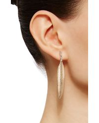 Luis Morais - X Large Long Enameled 10k Yellow Gold Feather Diamond Baguette Earring - Lyst
