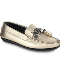 Gianfranco Ferré Branded Charm-Detail Leather Loafers - Lyst