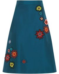 House of Holland Embellished Midi A- Line Skirt - Lyst