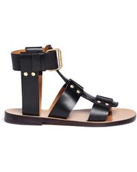 Chloé Gladiator Flat Leather Sandals