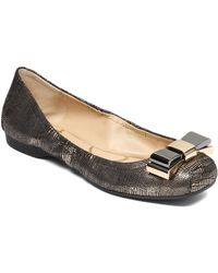 Jessica Simpson Suede Patent Leather Bow Flats - Lyst