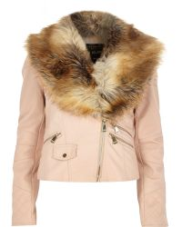 River Island Light Pink Faux Fur Collar Biker Jacket - Lyst