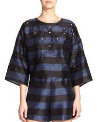 Tibi Escalante Striped Silk Top - Lyst