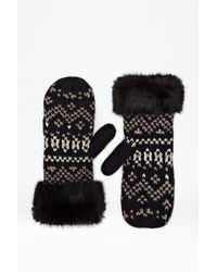 French Connection - Lina Faux Fur Mittens - Lyst