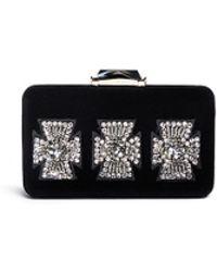 KOTUR 'Cross' Crystal Bead Velvet Espey Maltese Clutch black - Lyst