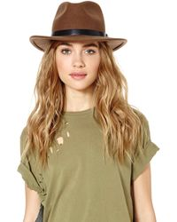 Nasty Gal - Brixton Messer Wool Hat Taupe - Lyst 6f002f9a8741