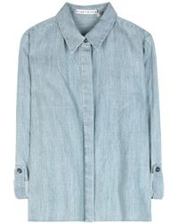 Alice + Olivia Greer Cropped Chambray Shirt - Lyst
