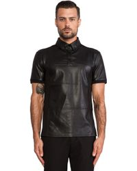 General Idea - Leather and Cotton Polo - Lyst