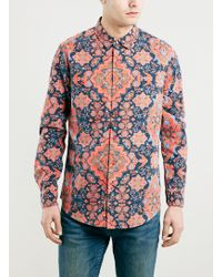 Topman Red Artisn Tapestry Long Sleeve Shirt - Lyst