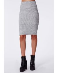 Missguided Madelynn Knitted Midi Pencil Skirt Grey - Lyst