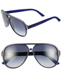 Gucci | '1065s' 59mm Polarized Aviator Sunglasses | Lyst