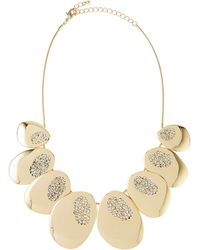Fragments Crystal-Detailed Organic-Shape Metal Disc Necklace - Lyst