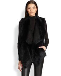 Donna Karan New York Reversible Shearling Vest - Lyst