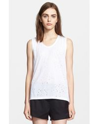 T By Alexander Wang Distressed Jersey Tank - Lyst