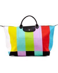 Longchamp Le Pliage Color Bar Canvas Travel Bag - Lyst