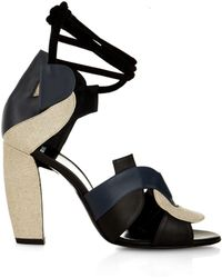 Pierre Hardy Atelier Linen And Leather Sandal - Lyst