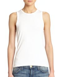Theory Abelynn Scalloped Tank Top white - Lyst
