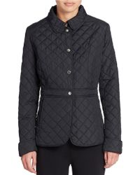 Lauren by Ralph Lauren Diamond-Quilted Peplum Jacket - Lyst
