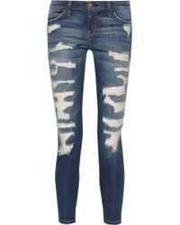 Current/Elliott The Stiletto Distressed Mid-rise Skinny Jeans - Lyst