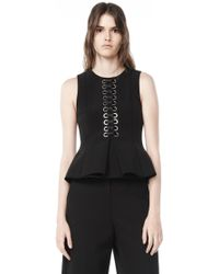 Alexander Wang | Peplum Shell Top With Front Lacing | Lyst