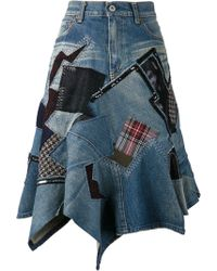 Junya Watanabe Patch Denim Skirt - Lyst